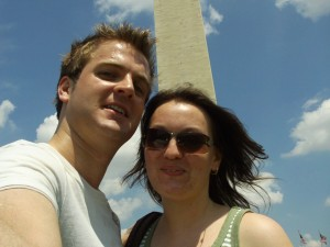 Emma and Phil in front of the Washington Monument