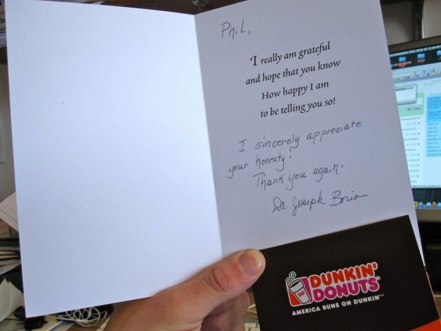Dunkin Donuts Reward and Letter from Macbook Pro owner